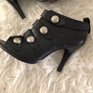 Coach Brandie Military button peep toe stilettos